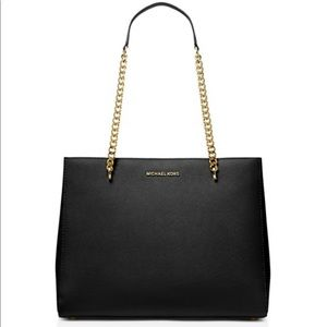 Michael Kors black Ellis shoulder tote NEW